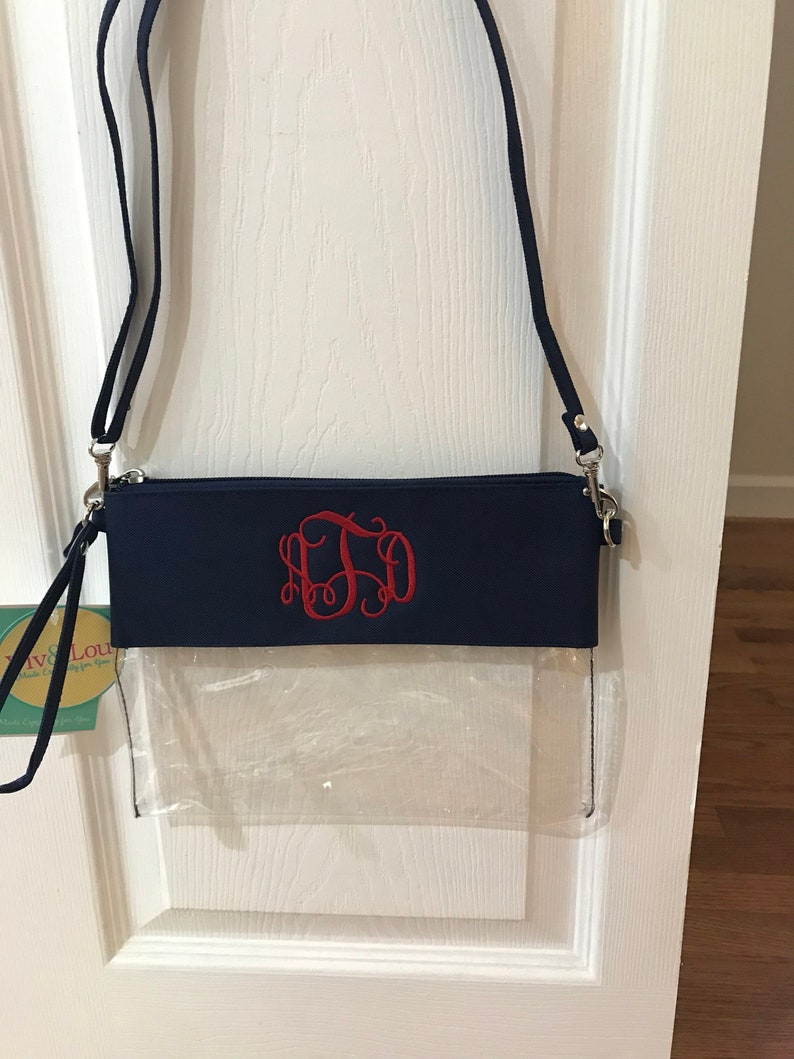 9ed9ab8f545de Monogrammed Clear Stadium Bag Personalized Crossbody Clear Bag Clear Purse  Clear Tote Football Bag Stadium Purse Game Day Bag Clear Clutch