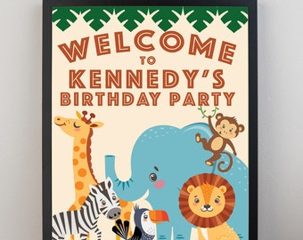 Welcome Sign/Jungle Birthday/Digital Download/Customizable