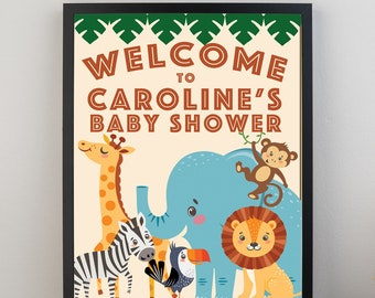 Welcome Sign/Jungle Baby Shower/Digital Download/Customizable