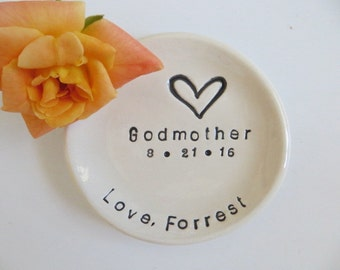 Godmother Gift, ring dish, CUSTOM ring holder, handmade earthenware pottery, Gift Boxed, Made to Order