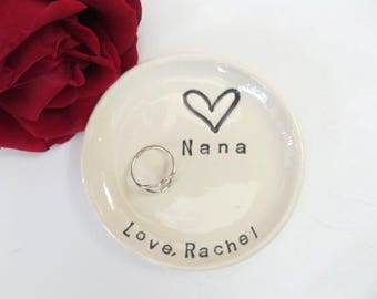 Ring dish, ring holder, Personalized Gift, Gift for Nana, Gift for Grandmother, White pottery, handmade pottery, Gift Boxed, Made to Order