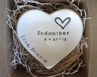 Godmother Gift, ring dish, Gift from Godchild, Christening Gift, Baptism Gift, Godmother pottery, Gift Boxed, Made to Order