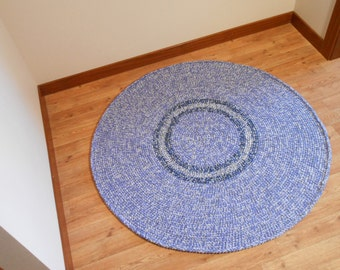 Blue Magpie - Flight Collection - Blue, Gray, White, Wool Area Rug - Handmade