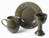 3 piece pottery communion set - ceramic communion set - liturgical ware - communion ware  W311
