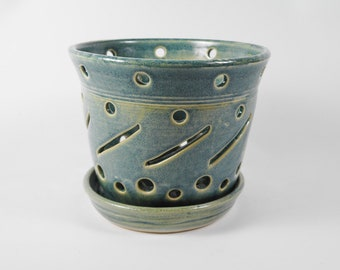 Ceramic orchid pot - orchid cachepot - pottery orchid pot - blue orchid pot - orchid planter  V210