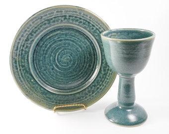 Chalice and paten set - pottery communion set - liturgical ware - communion ware  W319