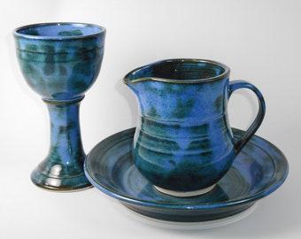 Chalice and paten set - blue communion set - pottery communion set - liturgical ware - communion ware -  W322