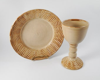 Chalice and paten set - pottery communion set - ceramic communion set - liturgical ware - communion ware  W308