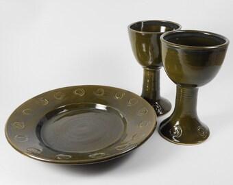 Chalice and paten set - pottery communion set - ceramic communion set - liturgical ware - communion ware  W311