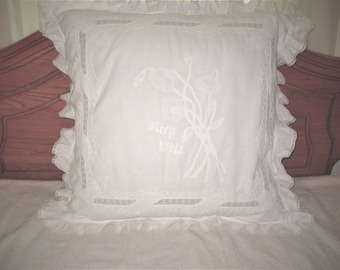 Delicated Vintage French Pillow Sham, White lace and embroridery
