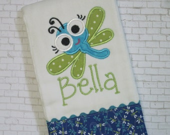 BUG EYE DRAGONFLY - Adorable Personalized  Burp Cloth