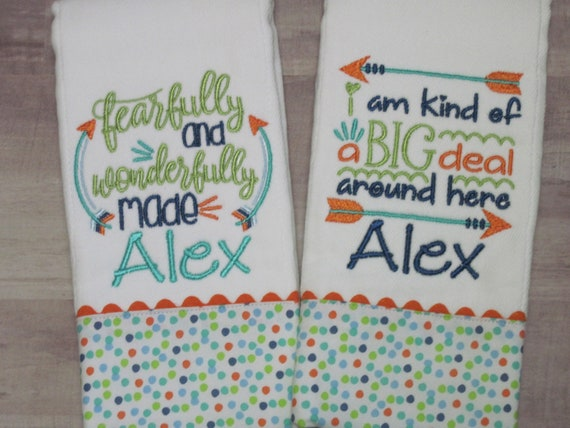 Baby BOY Burp Cloth Gift Set with a Precious Bible Verse and cute saying