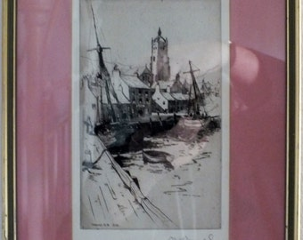 """Vintage engraving harbour with church in background """"Tarbert N.B."""" Signed Dho Donald"""
