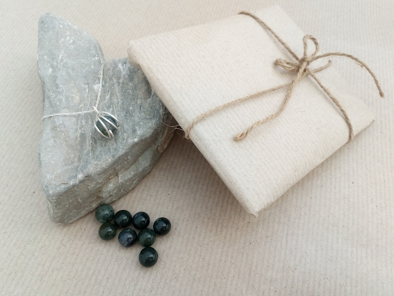 earring and ring set Moss Agate wrapped necklace