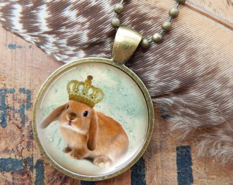 Lop Ear Rabbit Necklace, Lop Ear Bunny Pendant, King Bunny Jewelry, Rabbit Jewelry, Brown Rabbit Necklace
