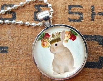Bunny Pendant, Bunny Necklace, Rabbit Pendant, Rabbit Necklace, Bunny King, Bunny Jewelry, Rabbit Jewelry, Brown Rabbit Necklace