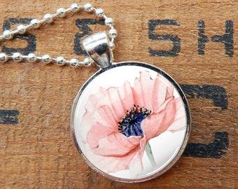 Poppy Pendant, Poppy Glass Necklace, Red Poppy Glass Pendant, Floral Necklace