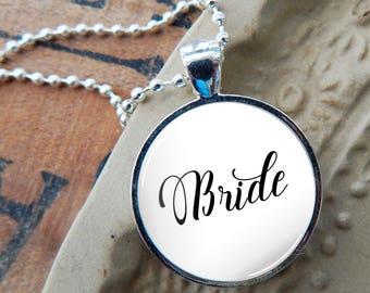 Bride Pendant, Bride Glass Necklace, Bride to Be Pendant, Gift for Bride to Be, Typography Pendant, Minimalist Bride Jewelry