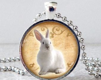 White Bunny Necklace, White Rabbit Pendant, Glass Art Rabbit Jewelry, White Rabbit Necklace, Christmas Present, Stocking Stuffer