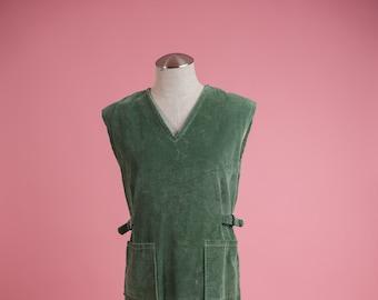 Vintage 1960's Dress Vintage Green Corduroy Dress 60's Corduroy Dress Vintage Dress Vintage Jumper Corduroy Overalls