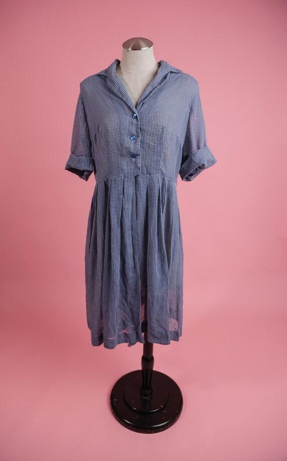 Vintage 1940's / 1950's Gingham Dress / Vintage Bl
