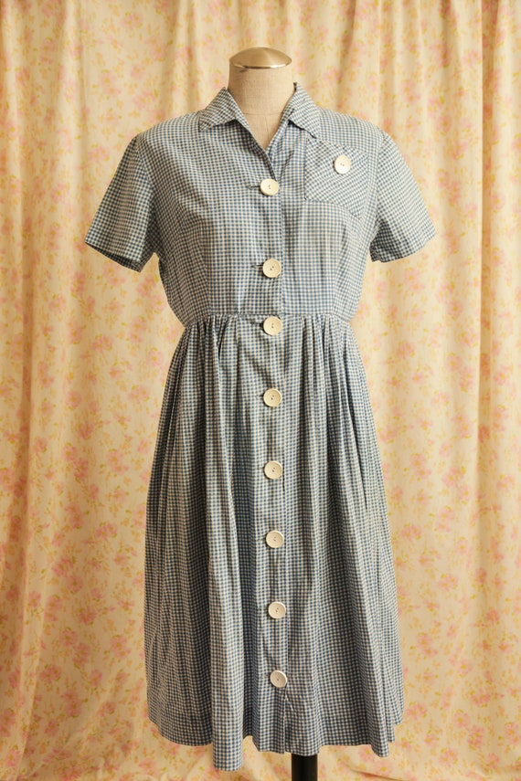 Vintage 1940's / 1950's Gingham Dress / Vintage Bl
