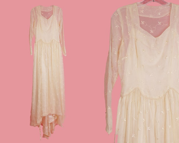 Vintage Wedding Dress / 1950's Wedding Dress / Vin