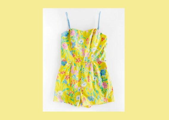 Sea Waves Floral Swimsuit / Vintage Swimsuit / Vin