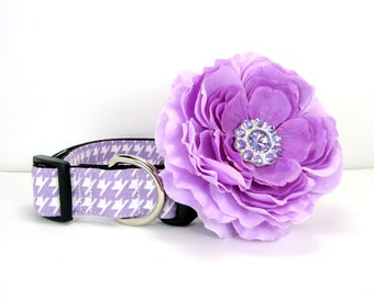 Mini,X-Small,Small,Medium ,Large or X-Large Size Pink Floral Dog Collar with Rhinestone flower set Adjustable