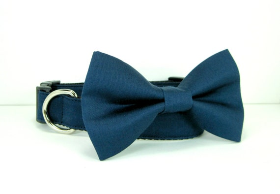 Leather Bow-Tie Dog Collar for Medium to Large Size Dog