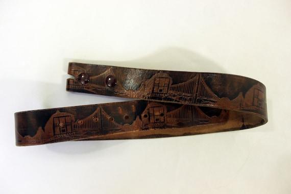 VTG San Francisco Tooled Leather Belt - image 1