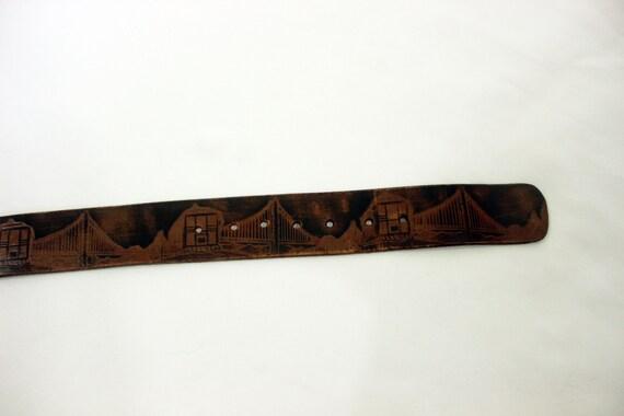 VTG San Francisco Tooled Leather Belt - image 6