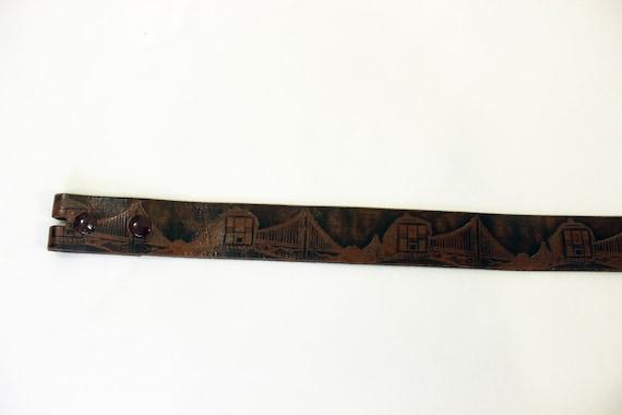 VTG San Francisco Tooled Leather Belt - image 4