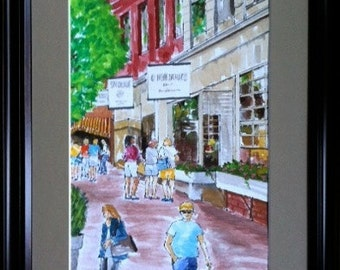 PRICE REDUCED! Gouache Painting Of Nantucket Shoppers, Massachusetts Art, Was listed at 110.00