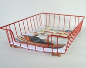 Red Coated Wire File Basket...Industrial Desk Storage Organizer...Mod In-Out Bin Desktop Accessory for Mad Men Paperwork