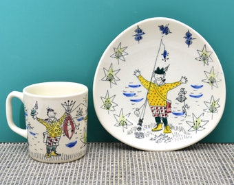 Stavangerflint Fisherman Mug and Underplate, Made in Norway, 2-pc Ceramic Cup & Saucer, Scandinavian Scenes/Traditions, Mid Century Pottery