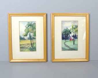 Vintage Landscapes, Pair of Watercolors Signed by K.Smith, 2 Small Framed Country Scenes, White Mats and Lt Wood Frames, Original Signed Art