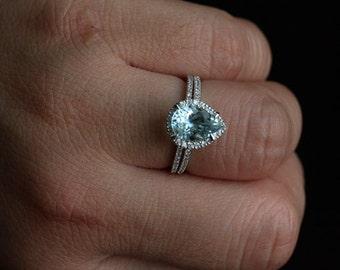 Natural Aquamarine Engagement Ring in 14k White Gold with Diamonds and Diamond Wedding Band Bridal Ring Set