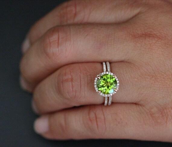 Peridot Engagement Ring Peridot Wedding Ring Set In 14k Rose Etsy