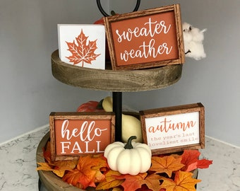 Hello Fall | Sweater Weather | Autumn The Year's Last Loveliest Smile | Fall Leaf Tiered Tray Mini Wood Signs