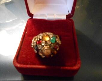1940's Multistones Ring, 18 Carat Gold, Ladies Size 5 1/2
