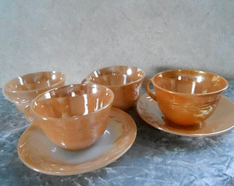 4-Fire-King Coffee Cups and 2-Fire-King Saucers ( Peach Lustre )