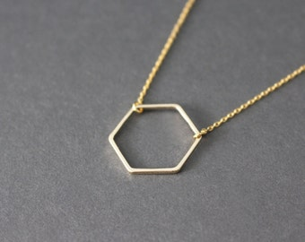 Hexagon necklace -  Hexagon necklace - Gemetric necklace - gold