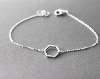 Silver Hexagon Bracelet