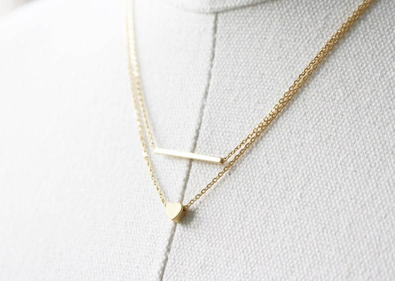 Gold heart necklace Tiny Heart necklace bridesmaid gift Silver necklace necklace Heart necklace