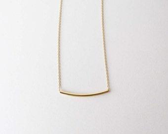 Gold Bar necklace  - Gold curved bar necklace - Bar necklace