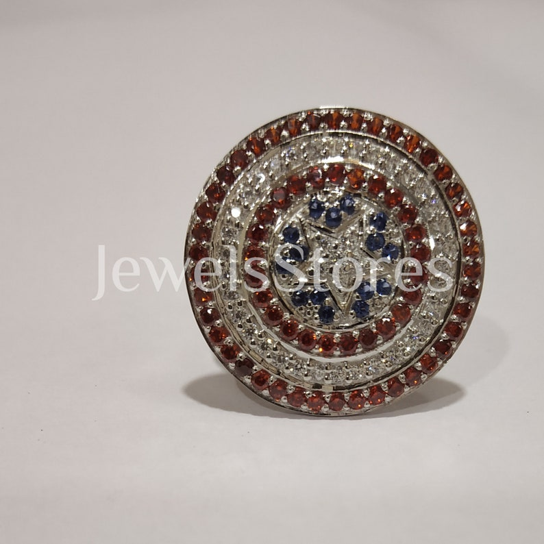 White Gold Finish Size 4-12 2.30 Ct Round Mix Color Sapphire Marvel Wedding Engagement Ring Captain America Ring 925 Sterling Silver