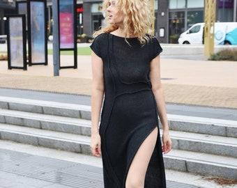Futuristic midi dress Side split asymmetrical dress in graphite black