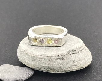Green * pink * sapphire gemstones * sterling silver * band