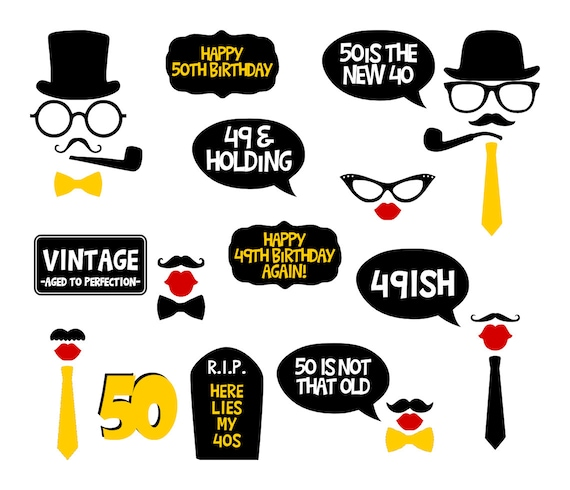50th Birthday Party Printable Photo Booth Props Yellow